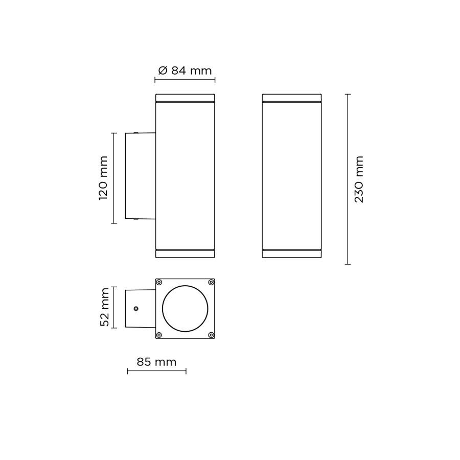 Scheda tecnica 401002L TECH MINI 02 SQUARE GU10