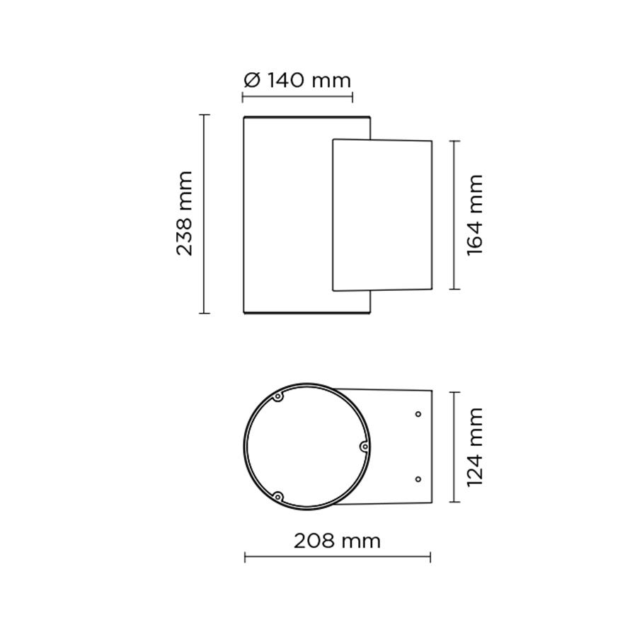 Scheda tecnica 401004 TECH MEDIUM 02 ROUND LED 2x8W
