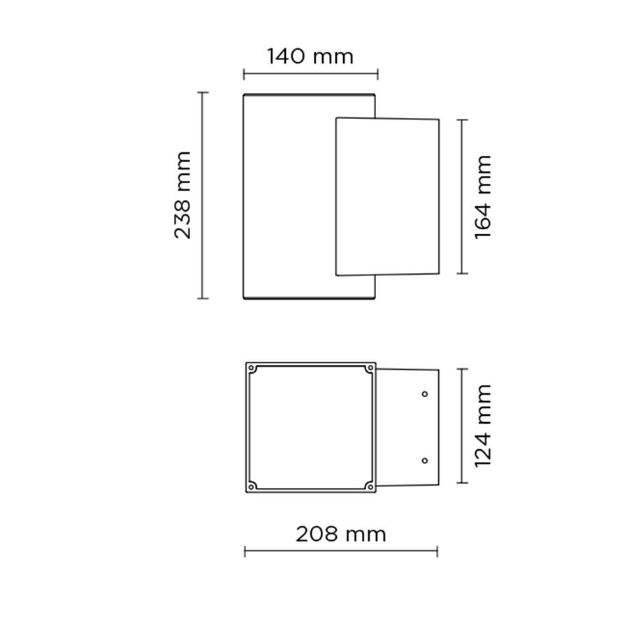 Scheda tecnica 401018 TECH MEDIUM 02 SQUARE PRO LED 2x14W