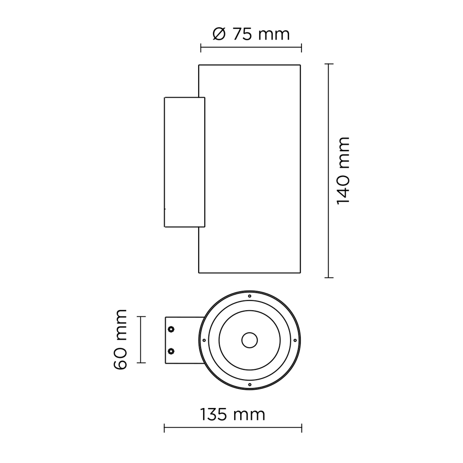 Scheda tecnica 401902 TECH MINI STEEL ROUND 02 LED 2x5W