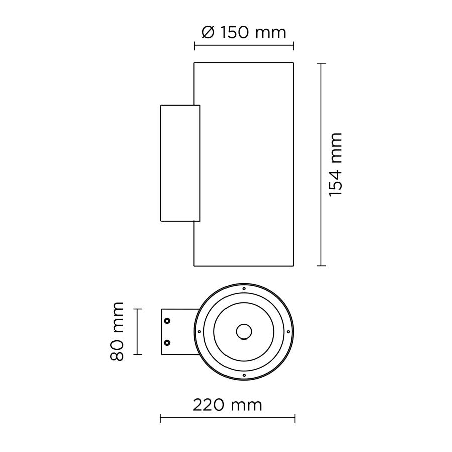Scheda tecnica 401903 TECH MEDIUM STEEL ROUND 01 LED 12W