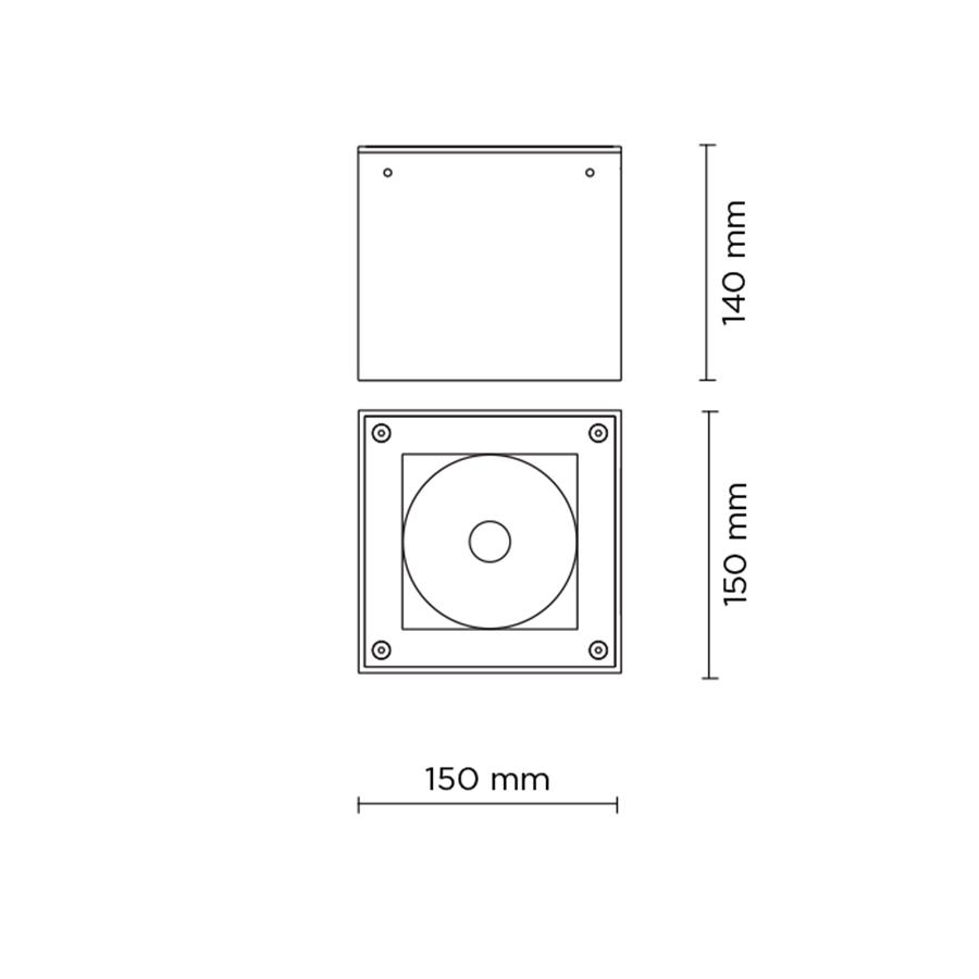 Scheda tecnica 706011 TECH MEDIUM COMPACT 03 SQUARE LED 20W