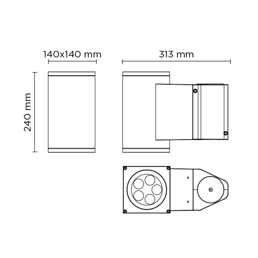Scheda tecnica 804007 SINGLE TECH POLE-TOP MEDIUM 01 SQUARE PRO LED 1x14W
