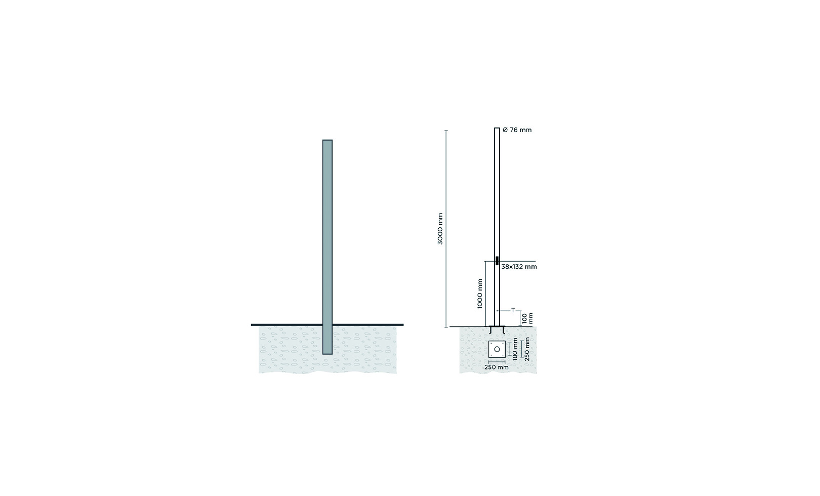 809904 CYLINDRICAL POLE 3 METERS  WITH BASE-PLATE 1