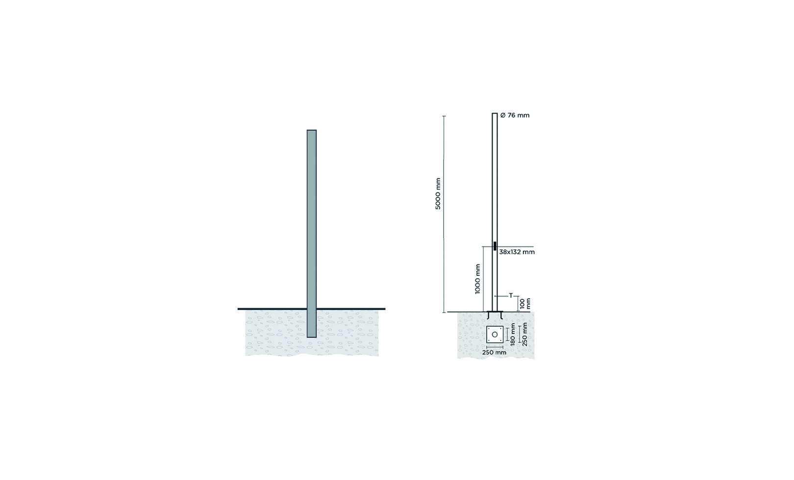 809906 CYLINDRICAL POLE 5 METERS WITH BASE-PLATE 1
