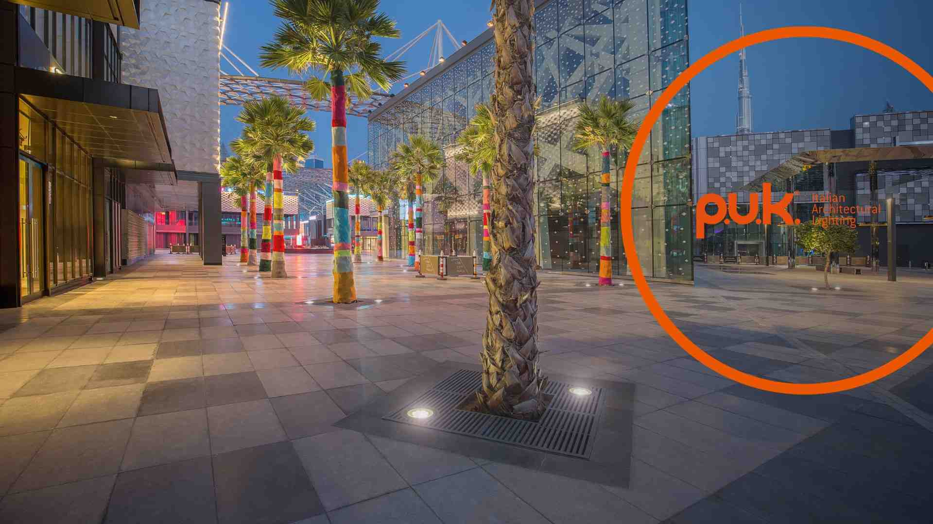 PUK's ground-recessed luminaires on Dubai's City Walk
